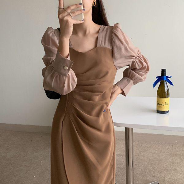 Irregular Dress for Women Black Khaki Folds Dresses Korean Style Fashion New Long Sleeve Clothing A-Line Casual Spliced Apparel Womens Clothing Dresses Casual Dresses Party Dresses Runway Dresses Street Style Dresses Work Dresses