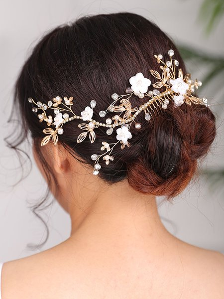 2021 New Arrival Handmade Gold Flower Hair comb Vintage Headpieces hair accessories for women wedding bride to be Headwear