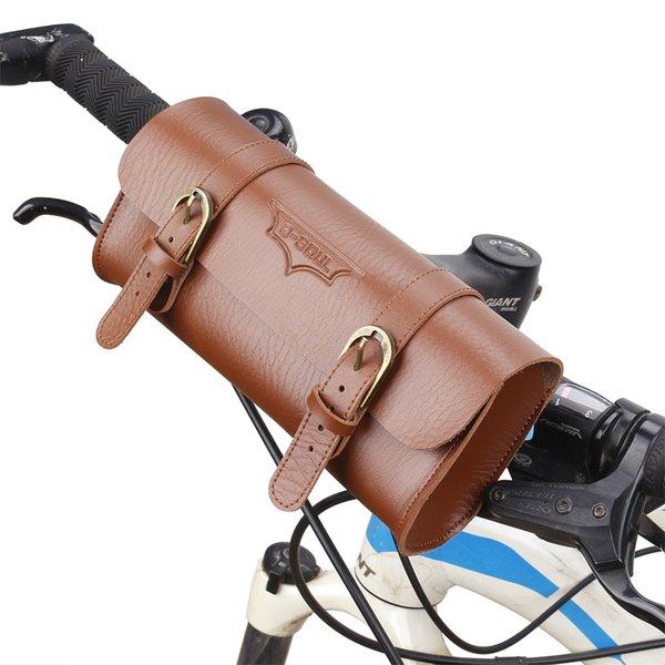 best selling Vintage Retro Bike Bag PU Leather Cycling Bag Waterproof durable Cell Mobile Phone Bags MTB Bike Handlebar Pouch Bike Supplies