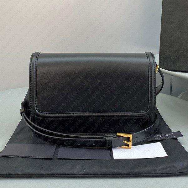 Luxury designer brands black top quality shoulder crossbody Box bag plain gold metal logo lock button two sizes Genuine Leather fashion bags