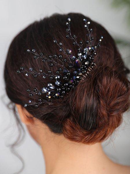 Bridal Black Hair comb Crystal Hair Accessories Fashion Headdress Handmade Hair Jewelry women Wedding Headpiece
