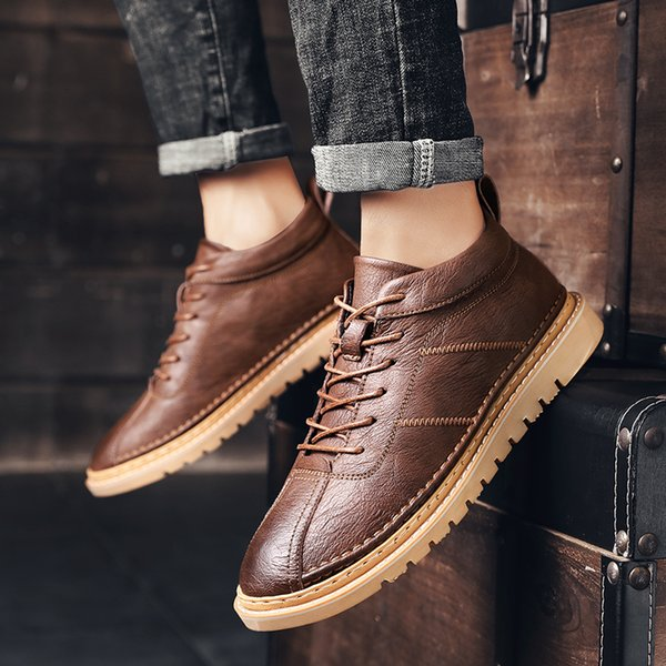 Mens Casual Leather Shoes Deodorant Tooling Shoes Men Oxfords Leather Shoes Lace Up Mens Casual Brand Loafers Men %