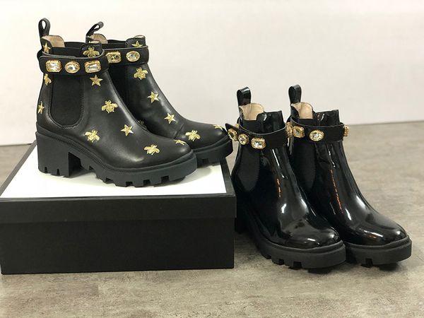 2021 Fashion Women Martin Boots Top Calfskin Ankle Bee Desert Shoes Chunky High heeled Cowboy Boots Black Brown Diamonds Martin Booties EU42