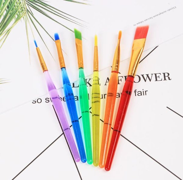 best selling 6 Sticks Transparent DIY Children Watercolor Brush Colorful Rod Painting Durable Kids Soft Brushes Drawing Pen SN2699