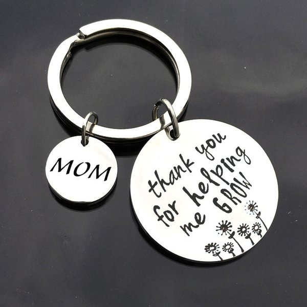 Mom/Dad Mothers Day Gift Thank You for Helping Me Grow Letter Keychain Thanksgiving Party Favors Fathers Day Personalised Gift
