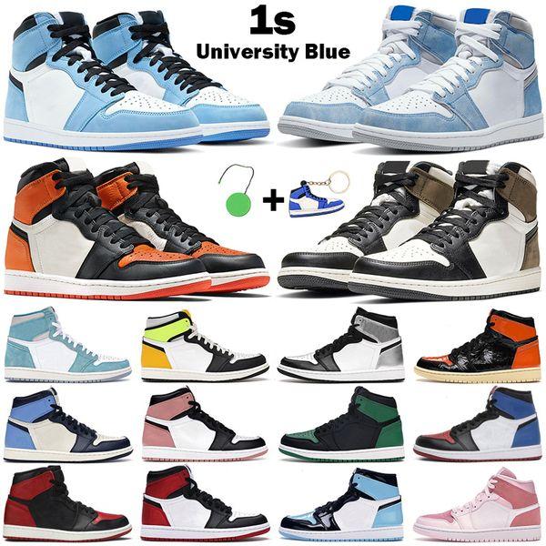 top popular Basketball Shoes men women 1s High OG jumpman 1 University Blue Hyper Royal Mid Light Smoke Grey Chicago Dark Mocha Twist mens sneakers 2021