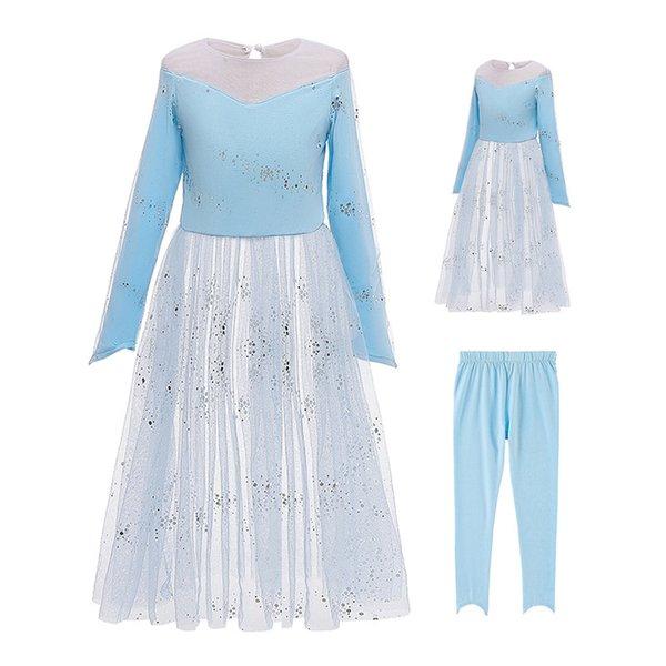 top popular Girls Cosplay Dresses Sets Party Dress Mesh Sequins Princess Dresses Girls Two-Piece Sets Elastic Waist Pants 3-9T 04 2021