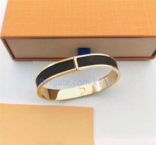 top popular Party Favor ZB004YX Brand Fashion Classic Bangle White PU Leather Titanium Bracelet with Gift Box 3 Colors Silver Rosegold Gold 2021