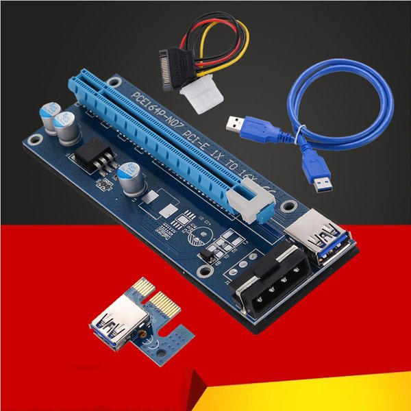 best selling 30CM 60CM PCI-E PCI Express Riser Card 1x to 16x USB 3.0 Data Cable SATA to 4Pin IDE Molex Power Supply DHL