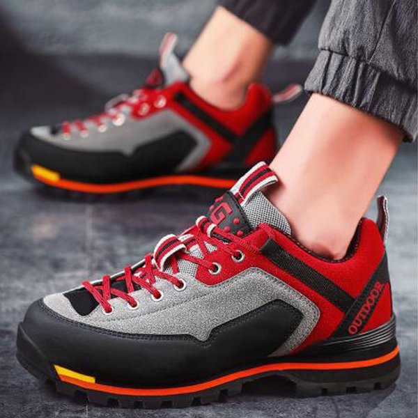High quality leather waterproof running shoes men's leather casual outdoor non-slip sneakers