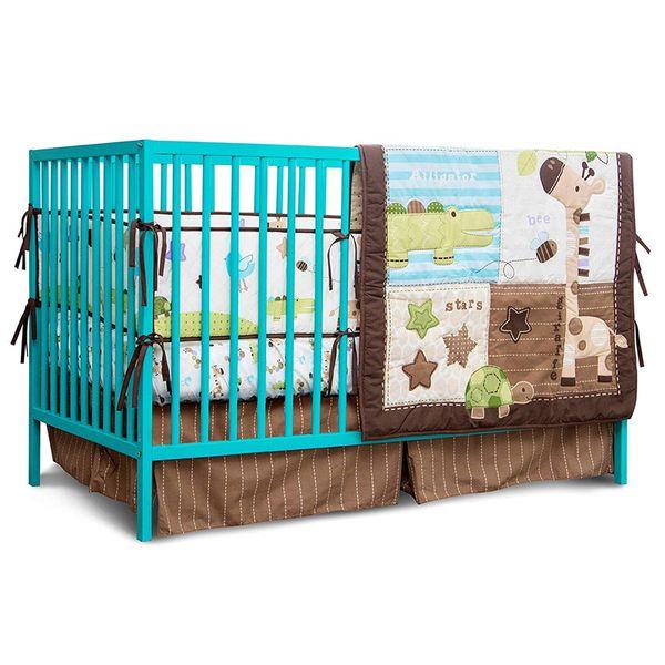 7PCS Nursery Crib Bedding Baby Gift Bedding Sets Necessary Newborn Cotton Comfort Suit(4bumper+duvet+bed cover+bed skirt)