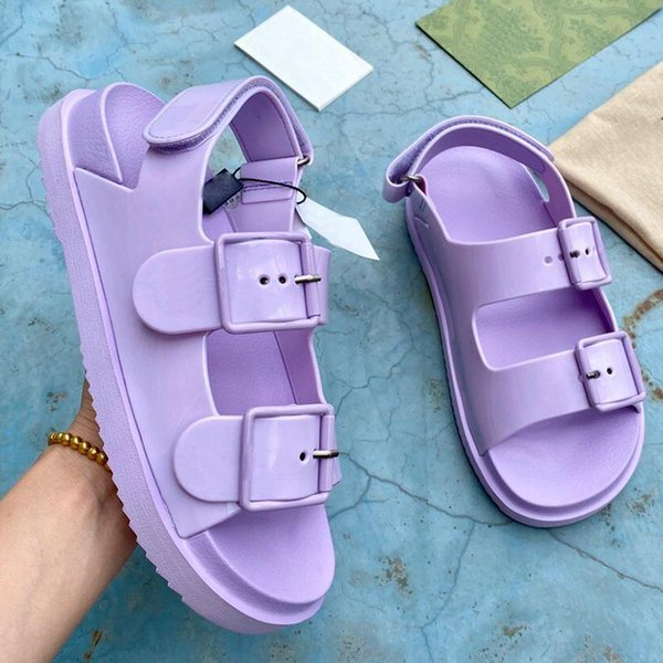 best selling top designer luxury women sandals fashion ladies flat heel beach shoes lastest casual Front Rear Strap slides Velcro film womens sandal with box