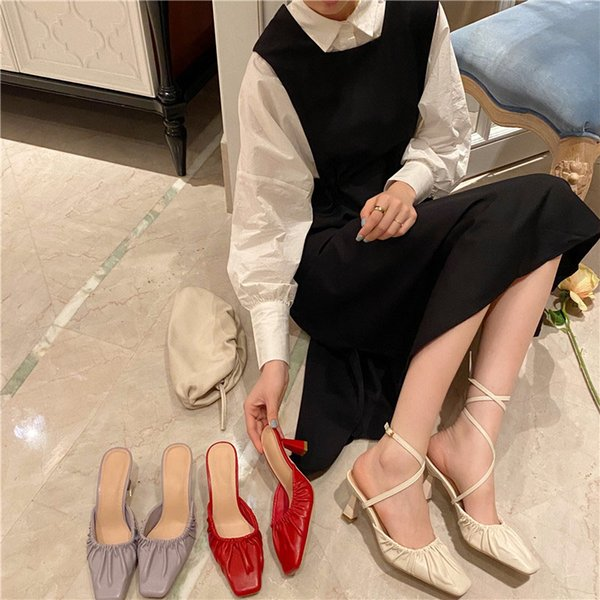 2021 New Women Slippers Spring Fashion Ladies Mules Slippers Sandals Thin High Heels Female Slippers Shoes For Woman Dress Shoes