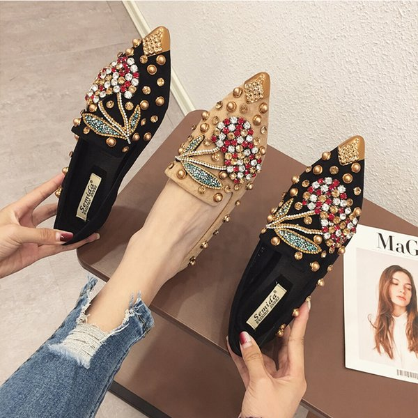 Woman Flats Loafers Shoes Rhinestone Crystal Loafers Ladies Casual Shoes For Women Pointed-Toe Flats Spring and Autumn