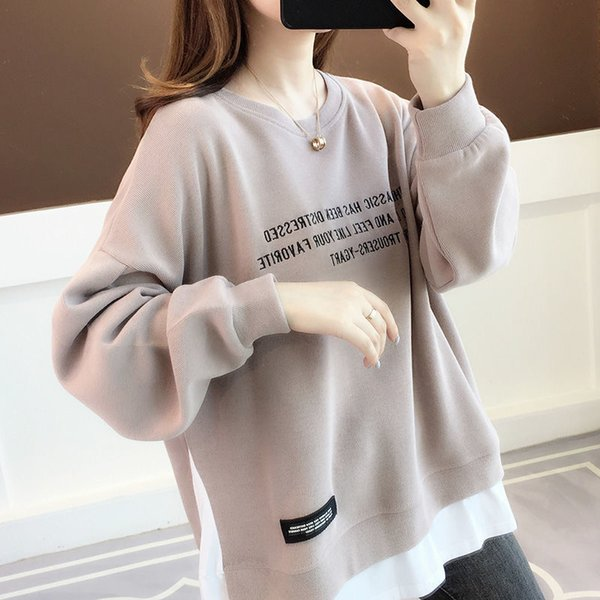 2021 new cotton spring autumn sweater womens clothing large loose Korean version fashion fake two foreign style top fashion Womens Clothing Dresses Skirts Womens Blouses & Shirts Womens Hoodies & Sweatshirts Womens Jeans Womens Jumpsuits & Rompers Womens Outerwear & Coats Womens Sweaters