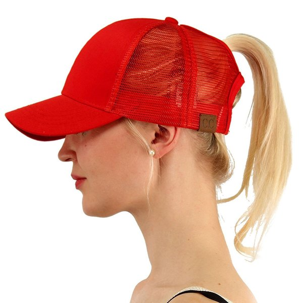 best selling CC Men's and women's summer sunshade camouflage baseball mesh cap sunscreen breathable ponytail adjustable Pure color duck tongue