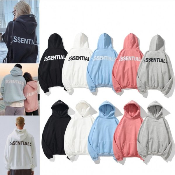 best selling Men and women Hoodies Essentials Reflective Long Sleeve Fleece Fashion Print Pullover Solid Hoodie Size M-XXL