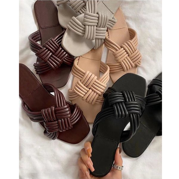 2021 summer new cross woven solid color plus size outdoor slippers For Women Fashion solid color comfortable Women beach slipper