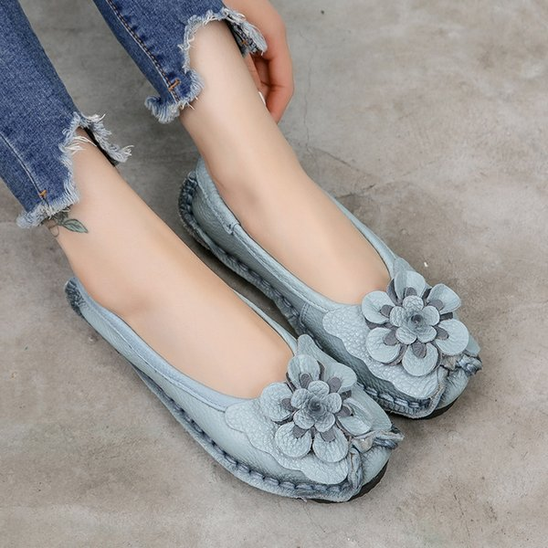 Soft Comfortable Flats Shoes Women Genuine Leather Loafers Slip On Causal Shoes Female Spring 2021 New Leather Flat Loafers