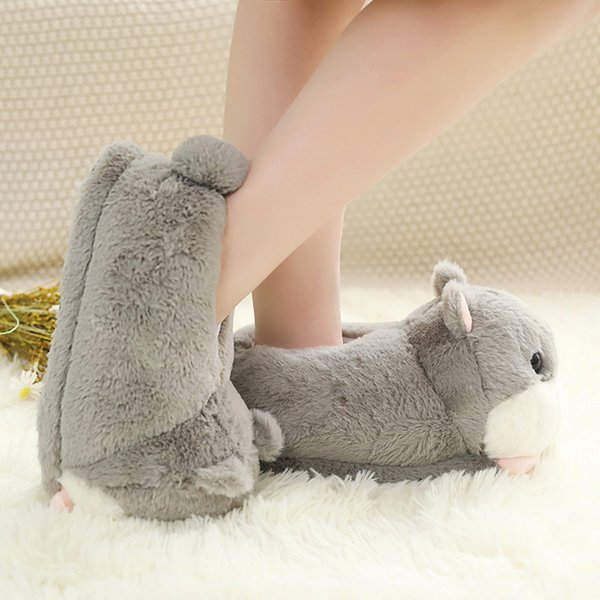 Women Shoes Cute Hamster Fluffy Slippers Cotton Indoor Floor Soft Fur Slippers Female Shoes Girls Winter Spring Warm Comfy shoes