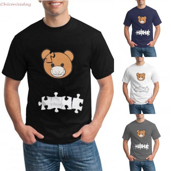 New Mens T-Shirts 2021 Spring Summer Women Bear Print T-Shirts Fashion Casual Puzzle Bear T-shirt Hot Selling Short Sleeve FY2555