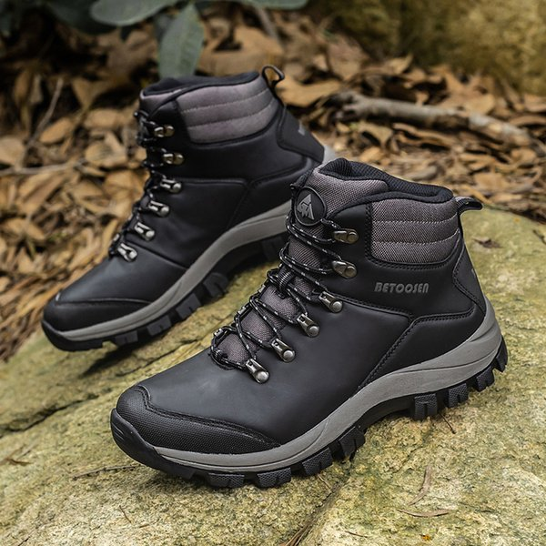 New Mens Winter Boots Warm Man Snow Boots High Quality Leather Waterproof Men Sneakers Outdoor Men Hiking Boots Work Shoes Big