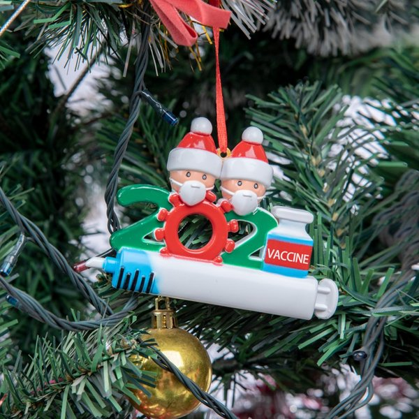 top popular DHL 2021 Christmas Decoration Quarantine Ornaments Family of 1-9 Heads DIY Tree Pendant Accessories with Rope IN STOCK 2021