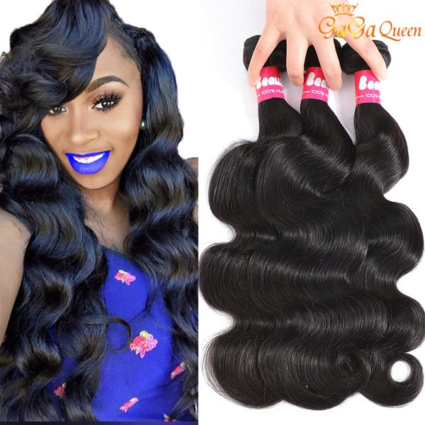 top popular 9A Brazilian Peruvian Body Wave Virgin Hair Bundles Brazilian Indian Malaysian Body Wave Human Hair Weave Bundles Natural Color Gaga Queen 2021