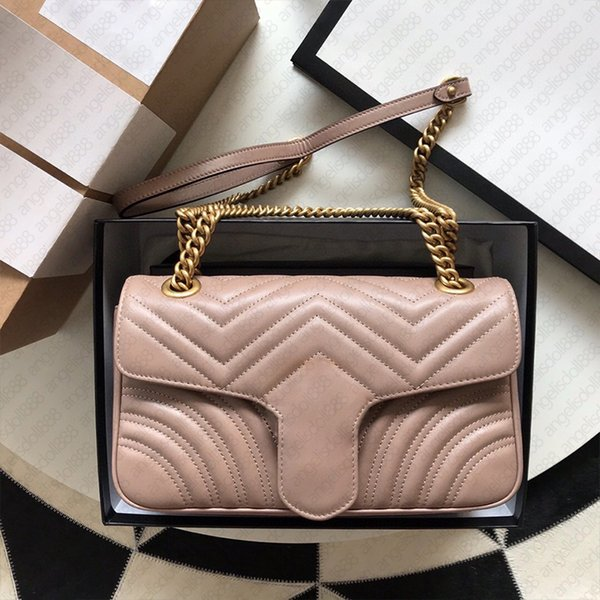 Luxurys Designers Marmontt Bags wave Zig Zag Hearts Quilted small 22cm with SN top quality women nude cowhide leather chain shoulder crossbody bag