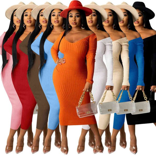 top popular Autumn Women Ribbed Knitt Sweater Dresses Fashion Off Shoulder Long Sleeve Solid Color Casual Maxi Skirt S-XXL 2021