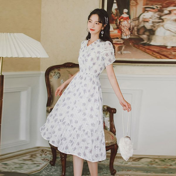 Floral Dress for Women Lace Ruffled Neck Dresses Short Sleeve Clothing A-Line Summer New Korean Fashion Casual Mid-Calf Apparel Womens Clothing Dresses Casual Dresses Party Dresses Runway Dresses Street Style Dresses Work Dresses