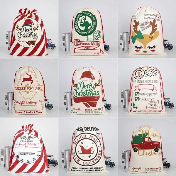 best selling Christmas Gift Bag Sack Drawstring Santa Claus Cotton Storage Candy Bag Large Kids Toy Party Decoration