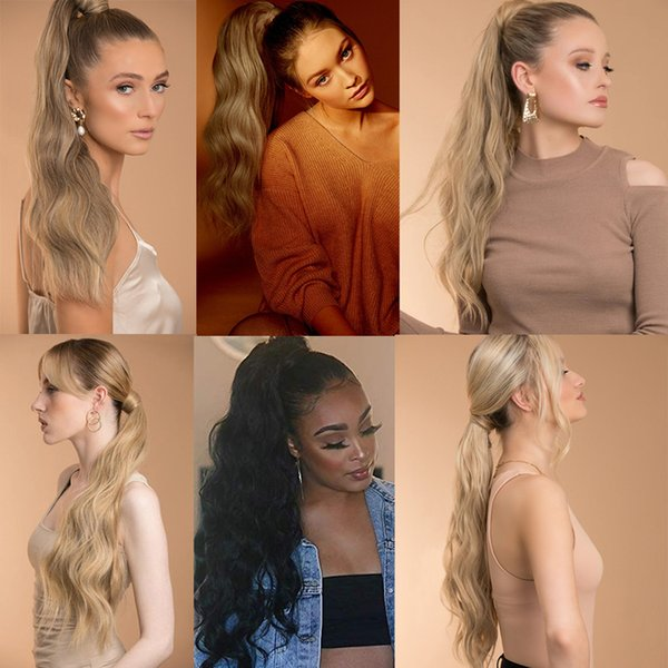 Hair Synthetic s(For White) MERISI Long Hollywood Ponytail Wrap Around Synthetic Ponytail Body Wave Clip in Hairpiece Blonde Wave Ponytail