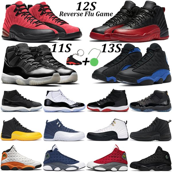 top popular Mens basketball shoes 11 Jubilee 25th Anniversary Bred Concord 11s Reverse Flu Game 12s Red Flint Black Hyper Royal Starfish 13s women sneakers 2021