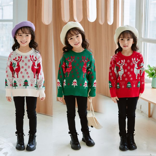 best selling Kids Christmas cartoon knit sweater Pullover children printed oller jacquard jacket new year sweaters Jumper wool blends boys girls 2-9Y boutique clothing clothes