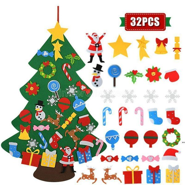 best selling DHL Fast Kids DIY Felt Christmas Tree Christmas Decoration for Home 2021 New Year Gifts Christmas Ornaments Santa Claus Xmas Tree