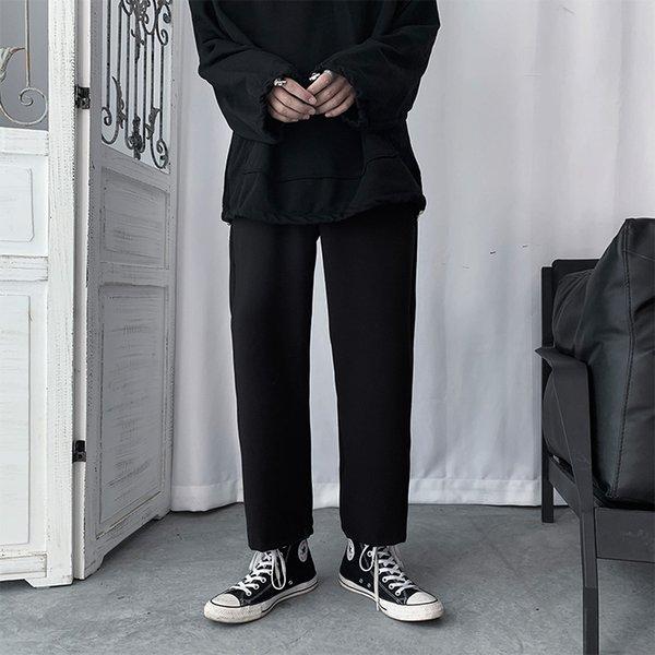 Spring New Men Casual Pants Black Solid Straight Drawstring Ankle Length Bottom Loose Ulzzang Harajuku Student Mens Clothing Ins Mens Clothing Mens Pants Plus Size