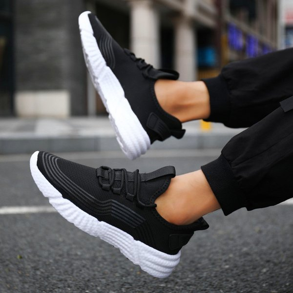 New Mens Casual Shoes Summer mesh breathable lightweight sneakers Breathable Light Mesh Lace Up Flats Male Sneaker Casual Shoes