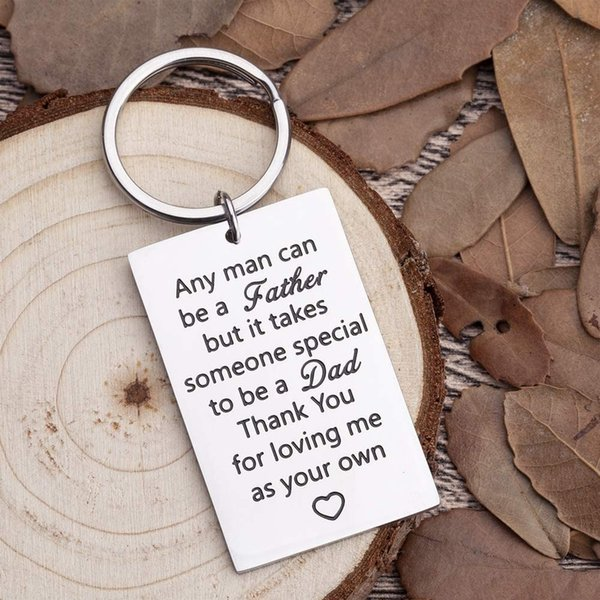 10Pieces/Lot Fathers Day Birthday Key Chain Gifts for New Dad Step Dad Keyring Gifts Thank You for Loving Me As Your Own Wedding Key Ring