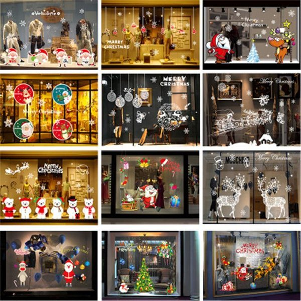 best selling Santa Claus Mural Wall Sticker Removable Streamers Confetti DIY Merry Christmas Glass Window Holiday Decal Home Decoration