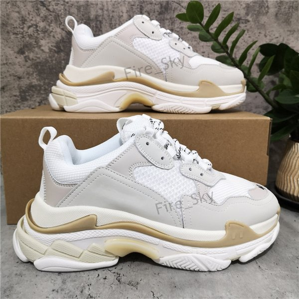top popular 2021 Top Quality Mens Womens Casual Shoes White Black Blue Triple S Low Make Old Combination Boots Sports Size EUR 36-45 2021