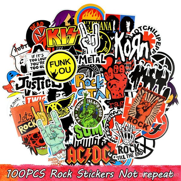 best selling 100 PCS Waterproof Graffiti Stickers Rock Band Decals for Home Decor DIY Laptop Mug Skateboard Luggage Guitar PS4 Bike Motorcycle Car Gifts