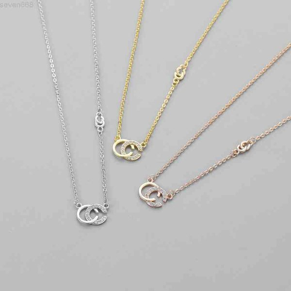 top popular Love Necklace Womens Pendant Double Letter Necklaces Flash Diamond Gold Letters Pendants Simple Party Jewelry Three colors available 2021