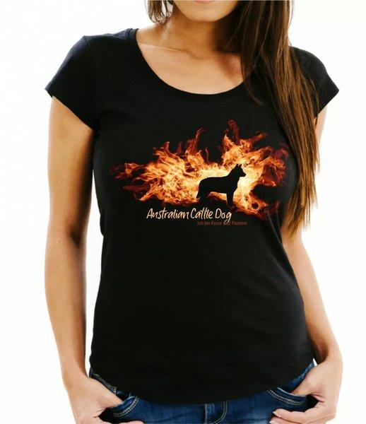 Ladies T-Shirt Australian Cattle Dog Fire and Flame by siviwonder Dog Motif