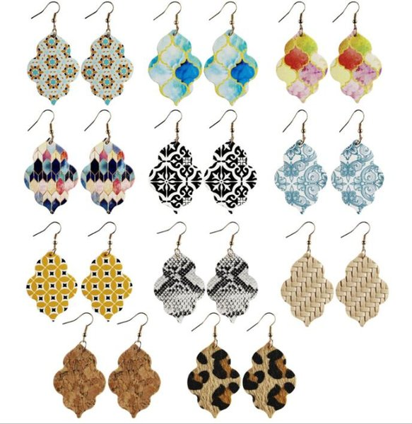 top popular New Style PU leather glitter sparkly Oval Earrings Fashion Dangle Earrings for Women 2021