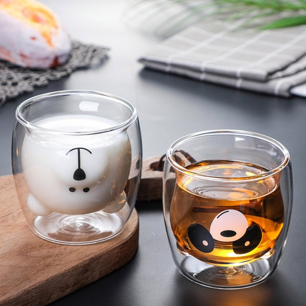 Net red creative cute bear cup cartoon double-layer insulated milk cup high borosilicate heat-resistant double-layer cup Report