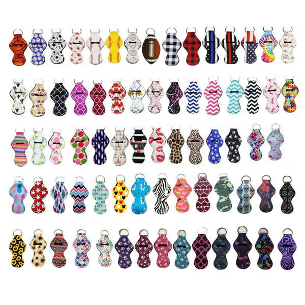 top popular 209 Colors Printing Chapstick Holder Keychain Party Favor Portable Lipstick Pouch For Girl Gift 2021