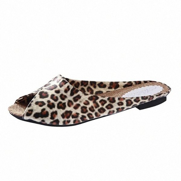 SAGACE Women Simple Open Toe Outdoor Beach Non Slip Casual Square Heel Outdoor Leopard Summer Turned Over Edge Peep Toe Slippers Womens Cowboy Boots S 73h4#