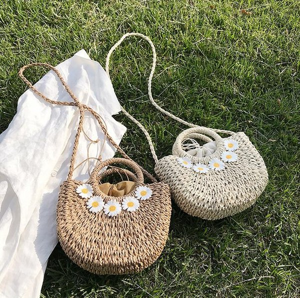 Factory wholesale women handbag hand-woven new daisy straw bag sweet little fresh woven handbag summer romantic beach vacation beach bag