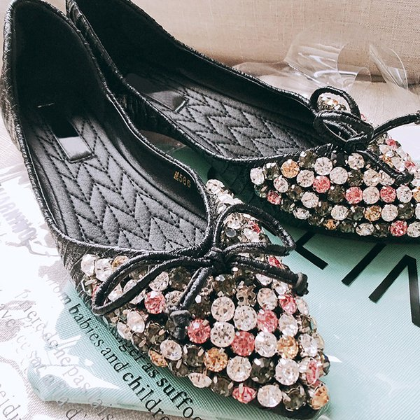 Women Flats Shoes Slip On Pointed Toe Shallow Ladies Casual Shoes Crystal Comfort Soft Loafers Shoes Women Boat Flats